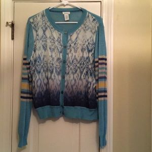 Gorgeous cardigan.  Teal with stripe and batik